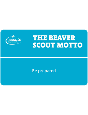 Beavers Motto & Promise Card