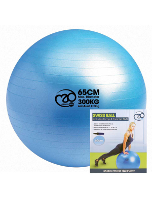 Fitness-Mad Swiss Ball, Pump and DVD Set 300Kg (65cm)
