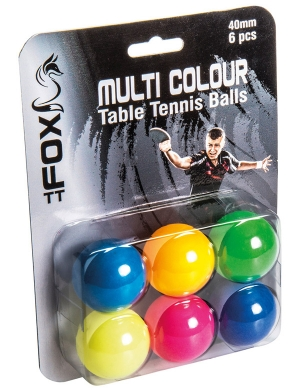 Fox Multi-Colour Table Tennis Balls 6pk