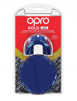 Opro Gold Competition Level Mouthguard For Braces Pearl Blue