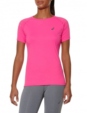 Asics Short Sleeve Stripe Top Azalea