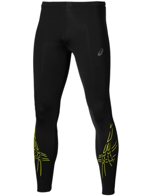 Asics Stripe Tights Black/Sulphur Spring