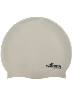 SwimTech Senior Silicone Cap White