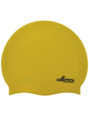 SwimTech Senior Silicone Cap Yellow