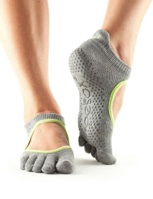 Fitness-Mad ToeSox Bellarina Full Toe Heather Grey /Lime