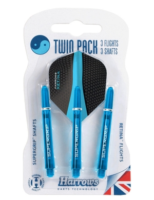 Harrows Supergrip Shafts & Flights Aqua Twin Pack