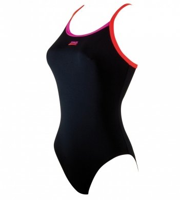 Zoggs Ladies Cannon Swimsuit Black/Coral