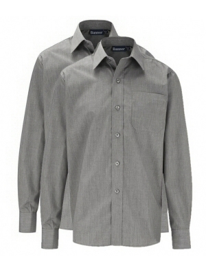 Banner Boys Long Sleeve Shirts Grey 2 pack