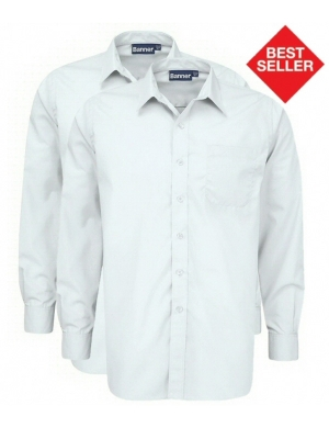 Banner Boys Long Sleeve Shirts White 2 pack