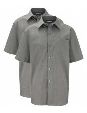 Banner Boys Short Sleeve Shirts Grey 2 pack