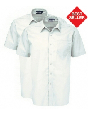 Banner Boys Short Sleeve Shirts White 2 pack