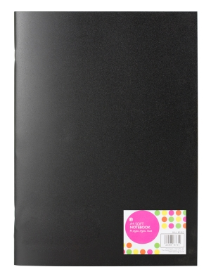 A4 Soft Cover Lined Notebook Black
