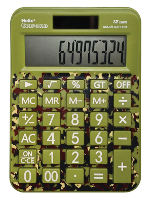 Helix Oxford Camo Desk Calculator Green