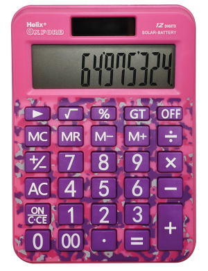 Helix Oxford Camo Desk Calculator Pink