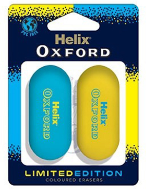 Oxford Clash Limited Edition Erasers 2pk Blue/Yellow