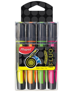 Fluo'Peps Max Softgrip Highlighters 4pk