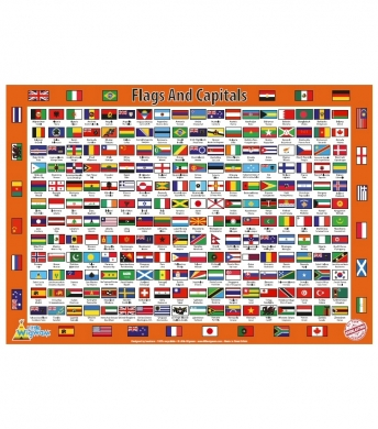 Flags and Capitals Poster - A2 Size