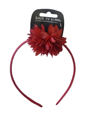 Flower Bobble & Alice Band Maroon