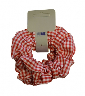 Gingham Scrunchie 2pk Red