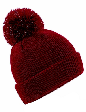 Beechfield Junior Reflective Bobble Beanie Burgundy