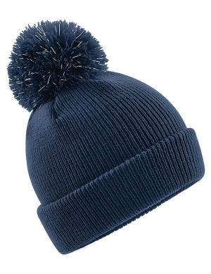 Beechfield Junior Reflective Bobble Beanie Navy