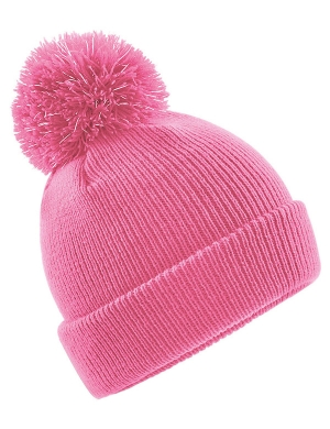 Beechfield Junior Reflective Bobble Beanie Pink