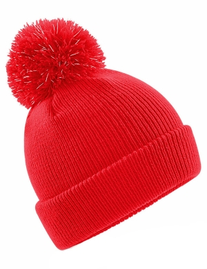Beechfield Junior Reflective Bobble Beanie Red