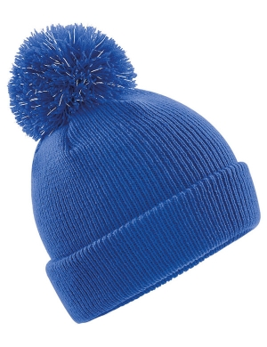 Beechfield Junior Reflective Bobble Beanie Royal