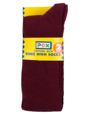 Knee High Socks 2 pack Maroon