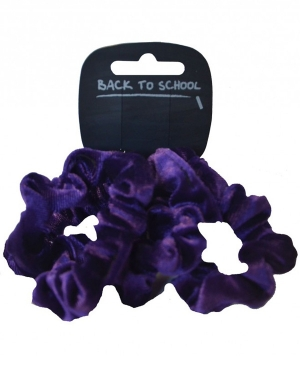 Velvet Scrunchie 4pk Purple