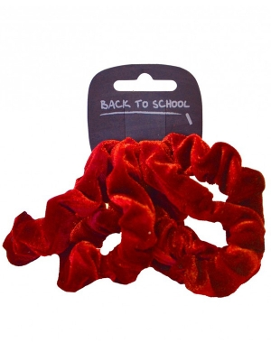 Velvet Scrunchie 4pk Red