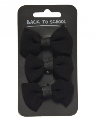 Bow Hair Clips 3pk Black