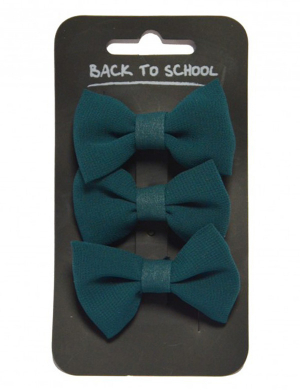 Bow Hair Clips 3pk Bottle Green