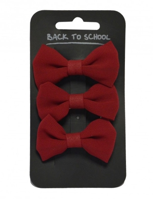Bow Hair Clips 3pk Maroon