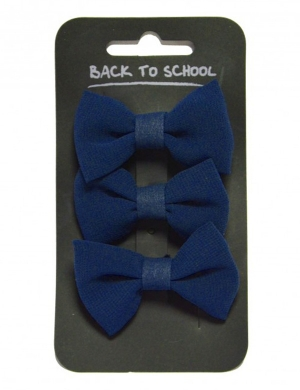 Bow Hair Clips 3pk Navy