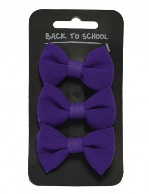 Bow Hair Clips 3pk Purple