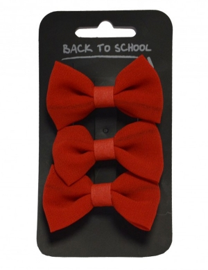 Bow Hair Clips 3pk Red