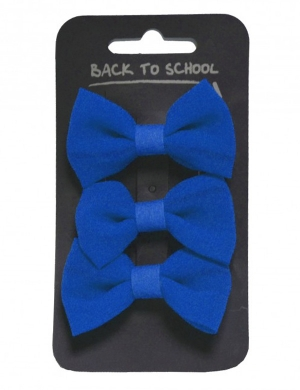 Bow Hair Clips 3pk Royal