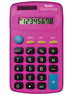 Helix Oxford Basic Calculator Pink