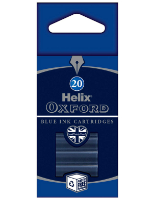 Oxford Fountain Pen Ink Cartridges Blue 20pk