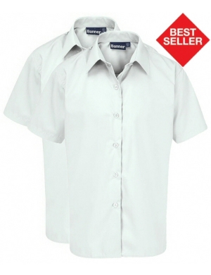 Banner Girls Short Sleeve Blouse White 2pk