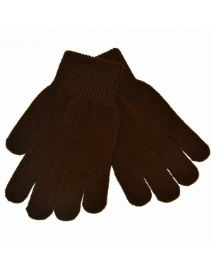 Knitted Stretch Gloves Brown