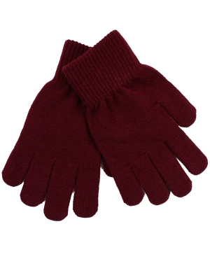 Knitted Stretch Gloves Maroon