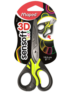 Sensoft 3D Fluo Scissors 13.5cm Yellow