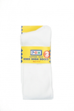 Knee High Socks 2 pack White