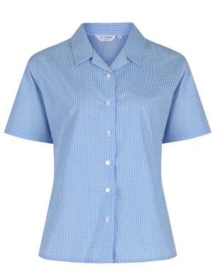 Trutex Short Sleeve Rever Blouse 2pk Blue Check