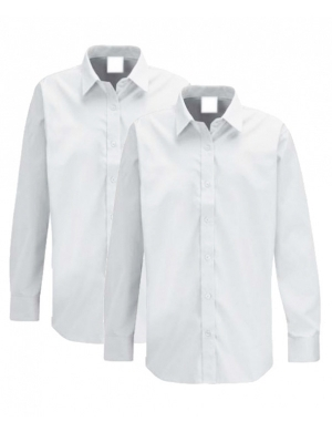 Trutex Girls Long Sleeve Blouse White 2 pack