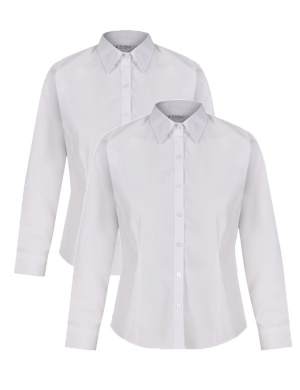 Trutex Slim Fit Non-Iron Long Sleeve Blouse 2pk White