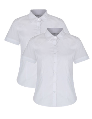 Trutex Slim Fit Non-Iron Short Sleeve Blouse 2pk White