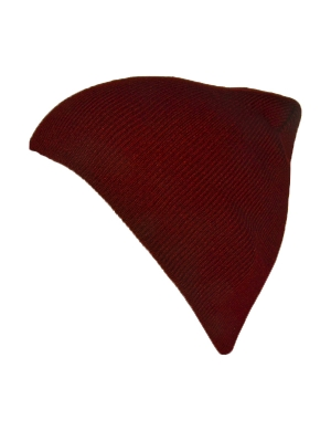 Knitted Beanie Hat Maroon